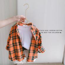 Boys and Girls Baby Shirts Small Childrens Foreign Tide Fashion Cotton Plaid Casual Long-sleeved Shirt Loose