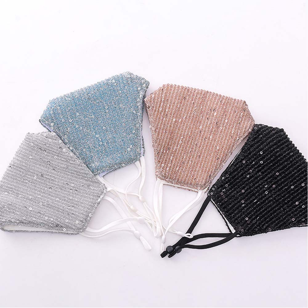 Face Cover Masks Fashion Sequin Cotton Keep Warm Anti-haze Masks Shining Party Unisex Breathable Mouth Respirator Washable