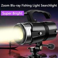 Night Fishing Light Blue Light Searchlight Super Bright Xenon High Power Portable Light Laser Purple/White Light Zoom Flashlight