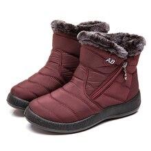 Botas femininas botas de neve à prova dwaterproof água botas de inverno de pelúcia feminino quente tornozelo botas mujer sapatos de inverno mulher mais tamanho 43 44