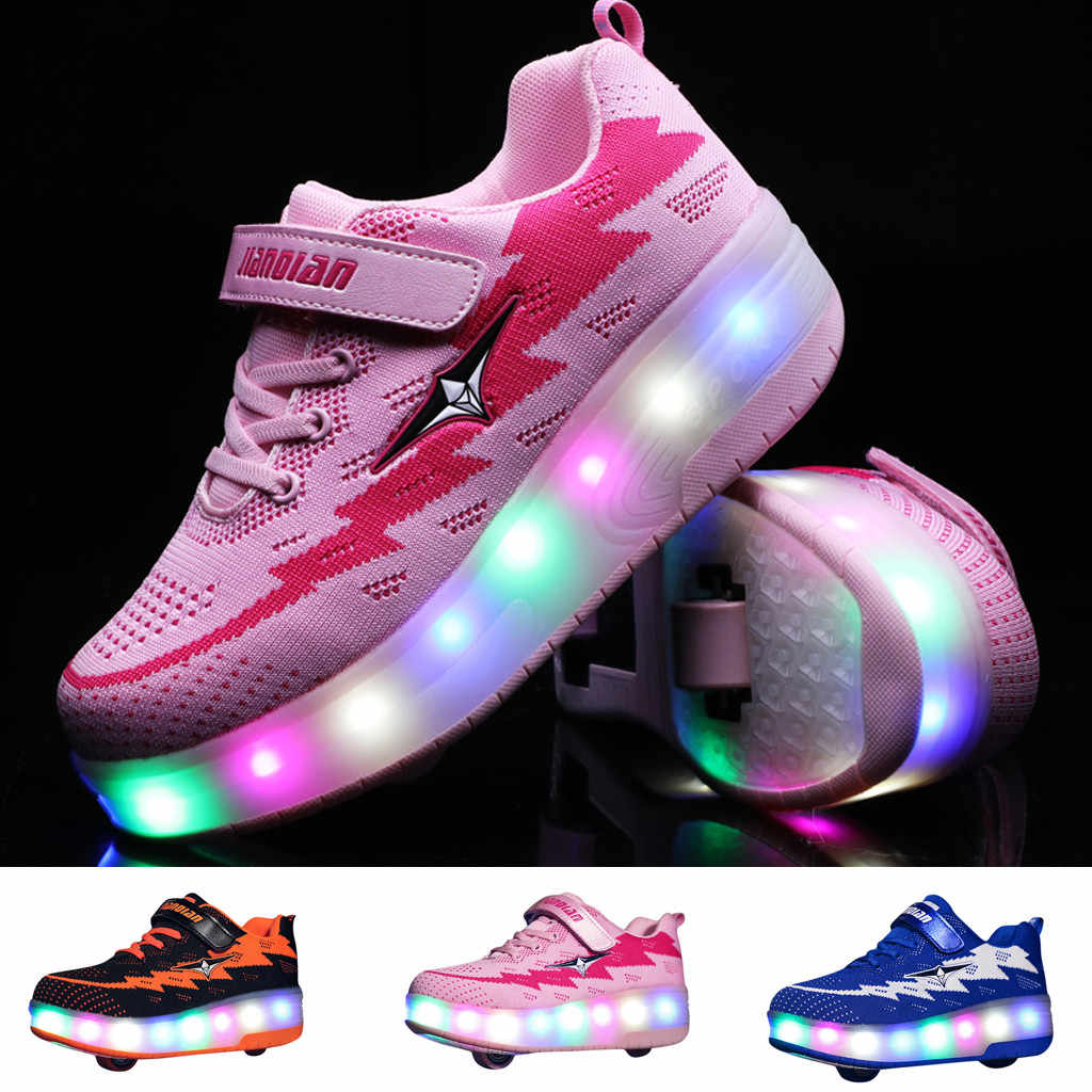 Toddler Light Up LED Wheels Skate USB Shoes Fashion Kids Sneakers детская обувь ботинки для девочки