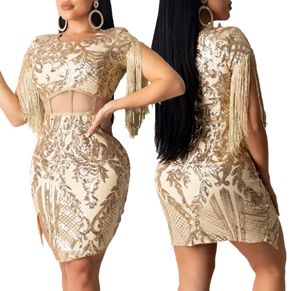 Sequin Dress Women Hollow Out Dress Split Tassel Party Dresses Woman Night Club Dress Sexy Bodycon robe Golden Mini vestidos D30