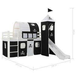 VidaXL Kiefernholz Prinzessin-Themen Traum Haus Zelt kinder Loft Bett Rahmen Mit Rutsche und Leiter Sind Lattenroste 97x208cm