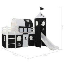 VidaXL Pinewood принцесса-тематический дом мечты палатка детская кровать-чердак рама с горкой и лестницей включает в себя кровати рейки 97x208cm