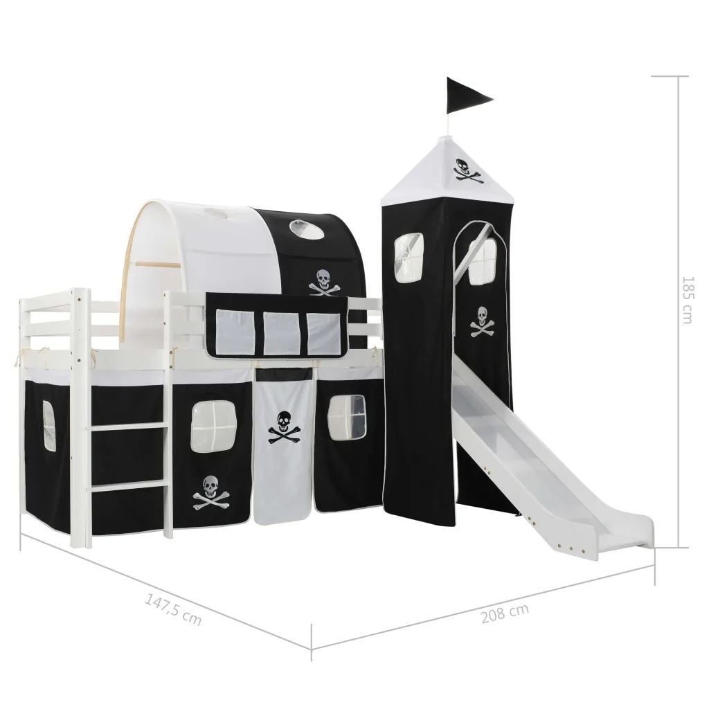 VidaXL Pinewood Princess-Themed Dream House Tent Children's Loft Bed Frame With Slide and Ladder Include Bed Slats 97x208cm