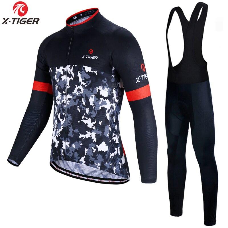 X-Tiger зимний комплект Джерси для велоспорта с длинным рукавом Одежда для гоночного велосипеда термофлисовая одежда для горного велосипеда т...