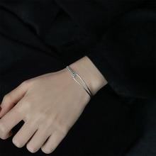 amorita boutique silver 925 unique design only one pcs sea bed design pearl ring with gift box Unique Design Silver Color Chain Geometric Bracelets 925 Box Chain Charm   Adjustable Bracelet For Women Elegant Party Gift