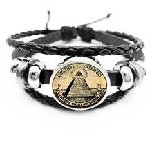 Initia /Retro Symbol Masonic Illuminati Antique Print Illustration Poster Glass Black Hook Bracelet Fashion Men