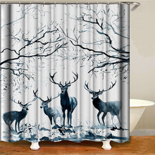 Highland deer shower curtain waterproof polyester fabric bathroom decorative painting shower curtain for home decoration deer water resistant shower curtain