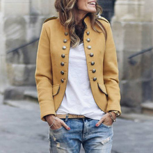 купить Women Autumn Winter Coats Solid Color Stand Collar Coat With Button Lady Korean Coat Casual Long Sleeve Jacket Elegant Blend D25 по цене 1016.7 рублей