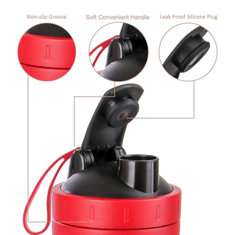 Шейкер для протеина, спортивный шейкер для воды из нержавеющей стали, герметичный, без бисфенола, красный