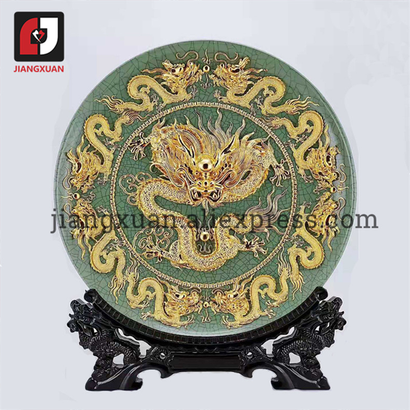 Intellective Chinese 24k Gold Foil Decorative Collector Plates For Living Room Handicraft Gifts
