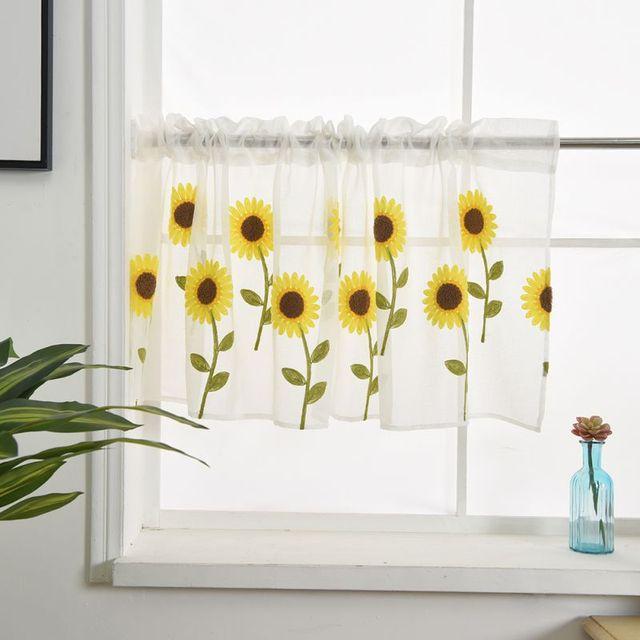 50x100CM/150CM Rod Pocket Embroidered Kapok Flowers Semi Tier Curtain Short Curtain For Kitchen Bathroom Living Room 1