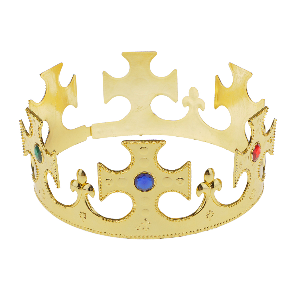 Plastic King Queen Nativity Majestic Crown Fancy Dress Hat Gold