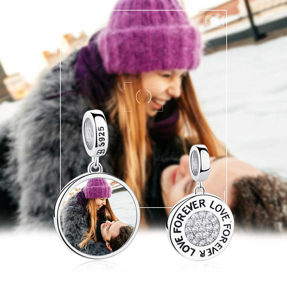 Kustom pribadi Foto 925 Sterling Perak Bulat Hiasan Manik-manik Cocok Pandora Gelang Kalung Liontin Asli DIY Perhiasan