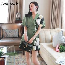 Delocah Women Fashion Runway Summer Jumpsuit Short Sleeve Bo