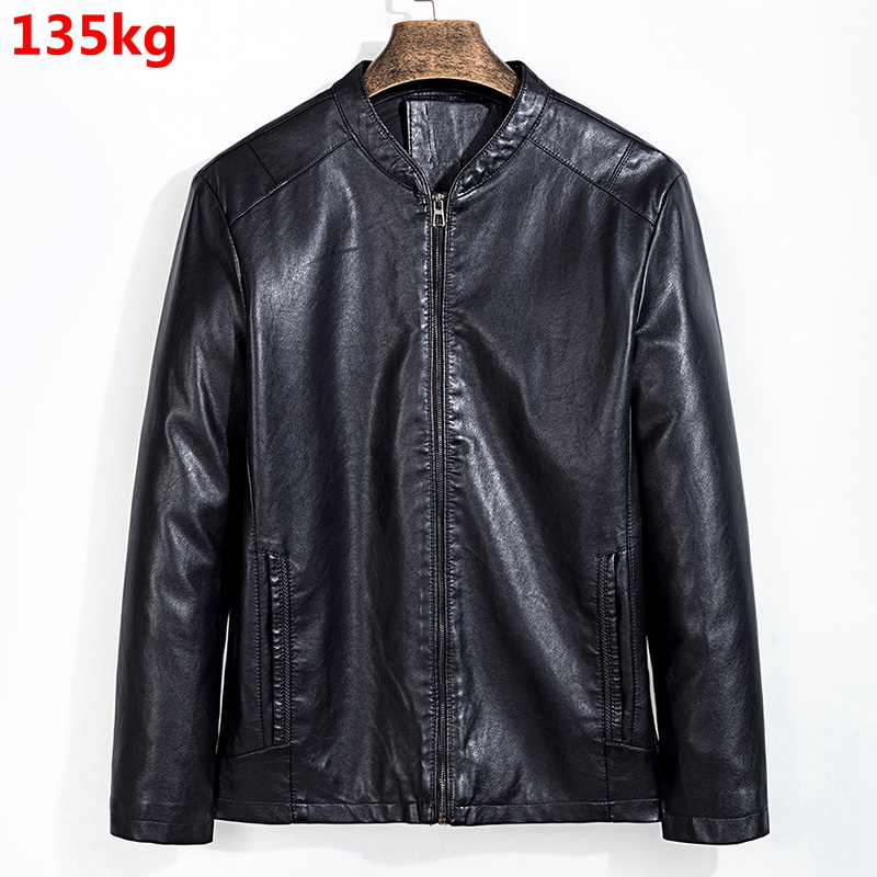 Autumn Thin Men's Plussize 7XL Fashion 8XL Casual Baseball Collar Leather Jacket Men's Jacket Leather