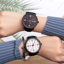SOXY Lovers Watch Simple Line Design Dial Romantic Ladies Watch Black Leather Luminous Men Watches Fashion Quartz Wristwatches soxy relogio wat1316