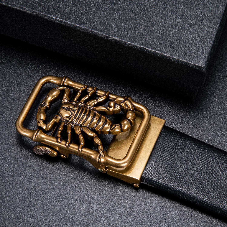 Dropship Brand Designer Leather Belt Buckles For Men Automatic Metal Buckle Ratchet Buckles For Belt Golden Snake 3.5cm Width