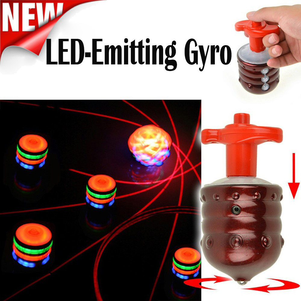 Music Gyro Peg-Top Spinning Top Brinquedo Funny Kids Toy Classic UFO Gyroscope Laser Color Flash LED Light New Year's gift(China)