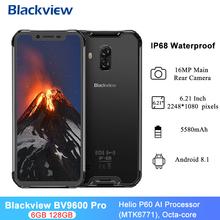 Blackview BV9600 Pro IP68 wodoodporny wytrzymały telefon komórkowy 4G LTE 128GB 6GB RAM 6 21 #8222 Helio P60 Octa Core 5580mAh Smartphone tanie tanio Nie odpinany Inne CN (pochodzenie) Android Rozpoznawania linii papilarnych Rozpoznawania twarzy 16MP Other Adaptacyjne szybkie ładowanie