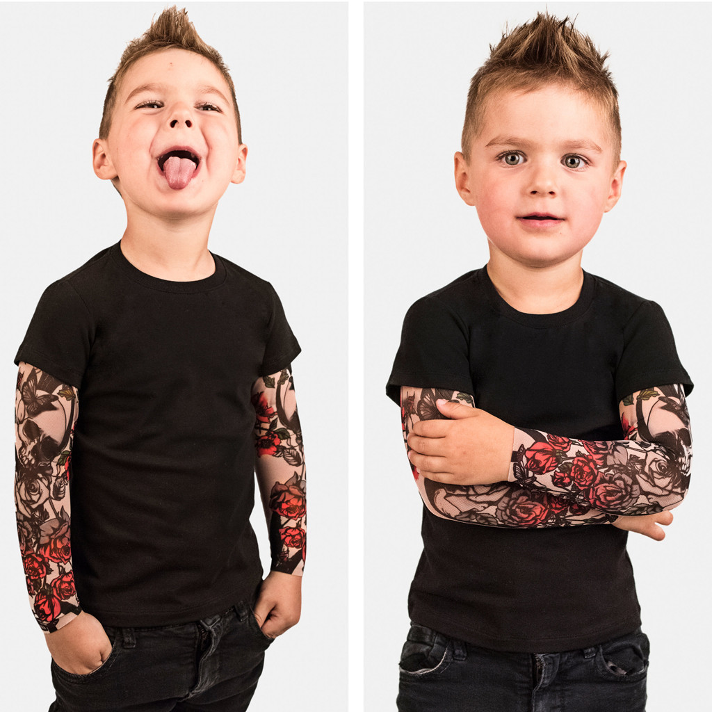 Baby Shirt Tops Tattoo-Printed-Sleeve Toddler Black Kids Boys with Mesh Floral Tee title=