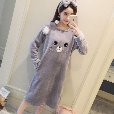 2019 New Style Winter Women's Flannel Cartoon Gray Little Mouse Nightgown