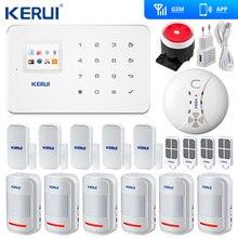 الأصلي Kerui G18 اللاسلكية GSM SMS المنزل نظام إنذار أمان ISO أندرويد APP نظام إنذار أمان كاشف لاسلكي عن الدخان