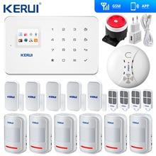 Kerui système dalarme de sécurité domestique sans fil G18, GSM/SMS, ISO, application Android, détecteur de fumée, Original
