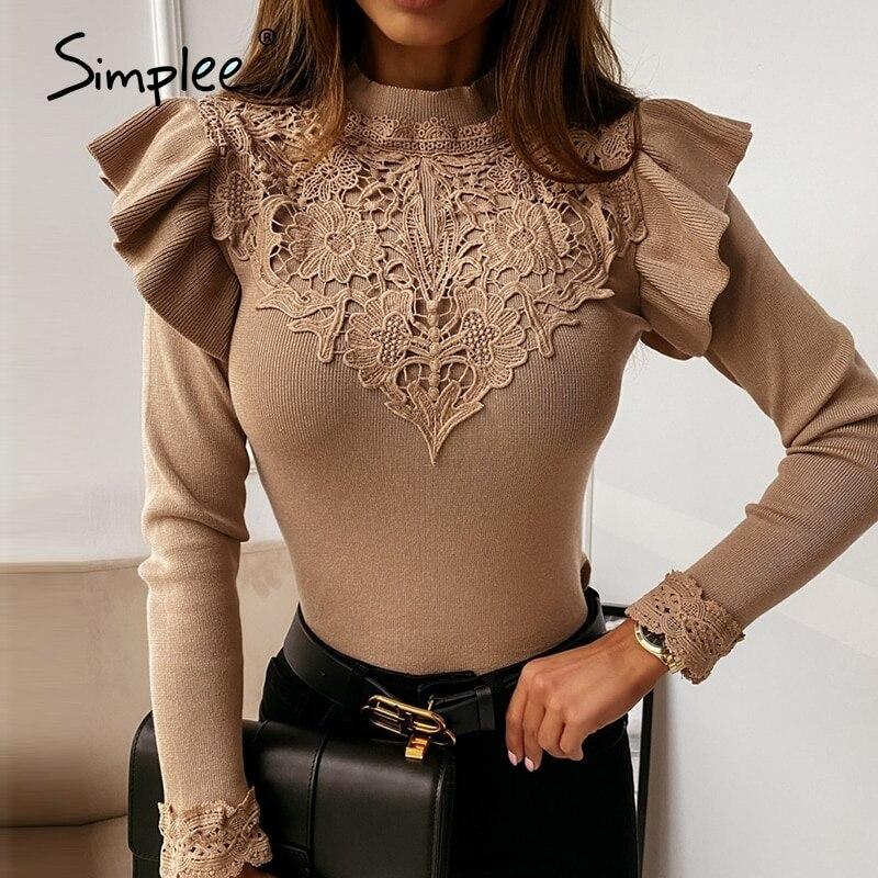 Simplee-Top tejido liso con volantes y flores para mujer, camisa de encaje de manga larga color caqui, moda de venta al por menor, Top de otoño 2020