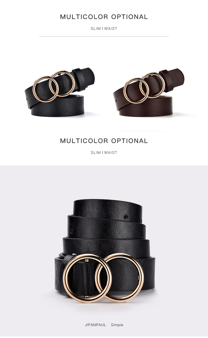 Hb9ae60c8dd844bddb353c1a89aa7f105u - JIFANPAUL Genuine leather Women's alloy double ring buckle fashion adjustable belt retro punk ladies dress jeans student belts