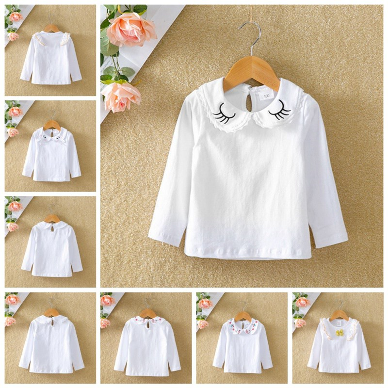 Белые футболки для маленьких девочек; топы с длинными рукавами с принтом кролика и бантом для малышей; футболки; топы для детей; Повседневная Блузка