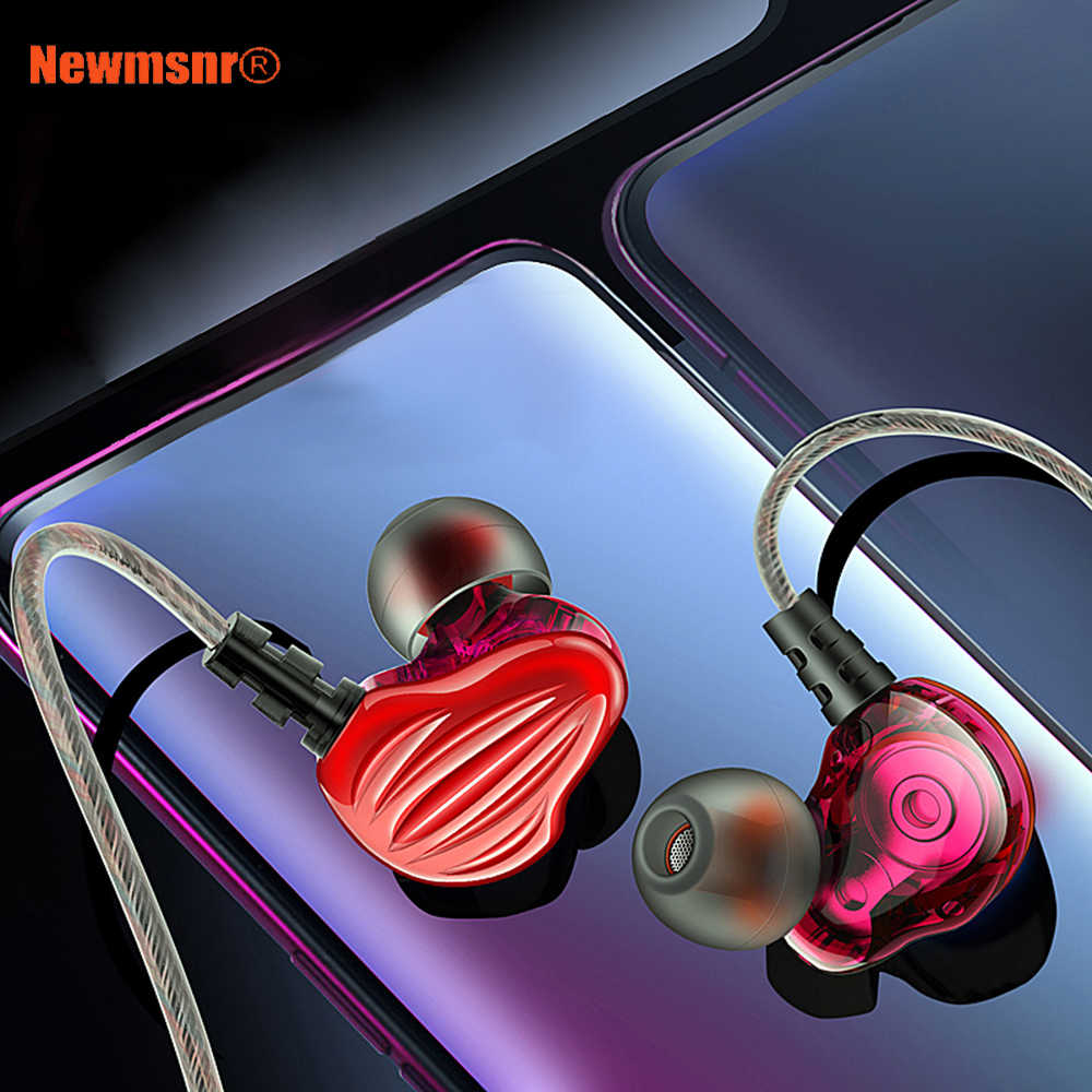 Newmsnr CK4 6D Surround Sound wired earphones,HD Stereo Heavy Bass headphones,4-Core Double moving Circle earpiece for all phone