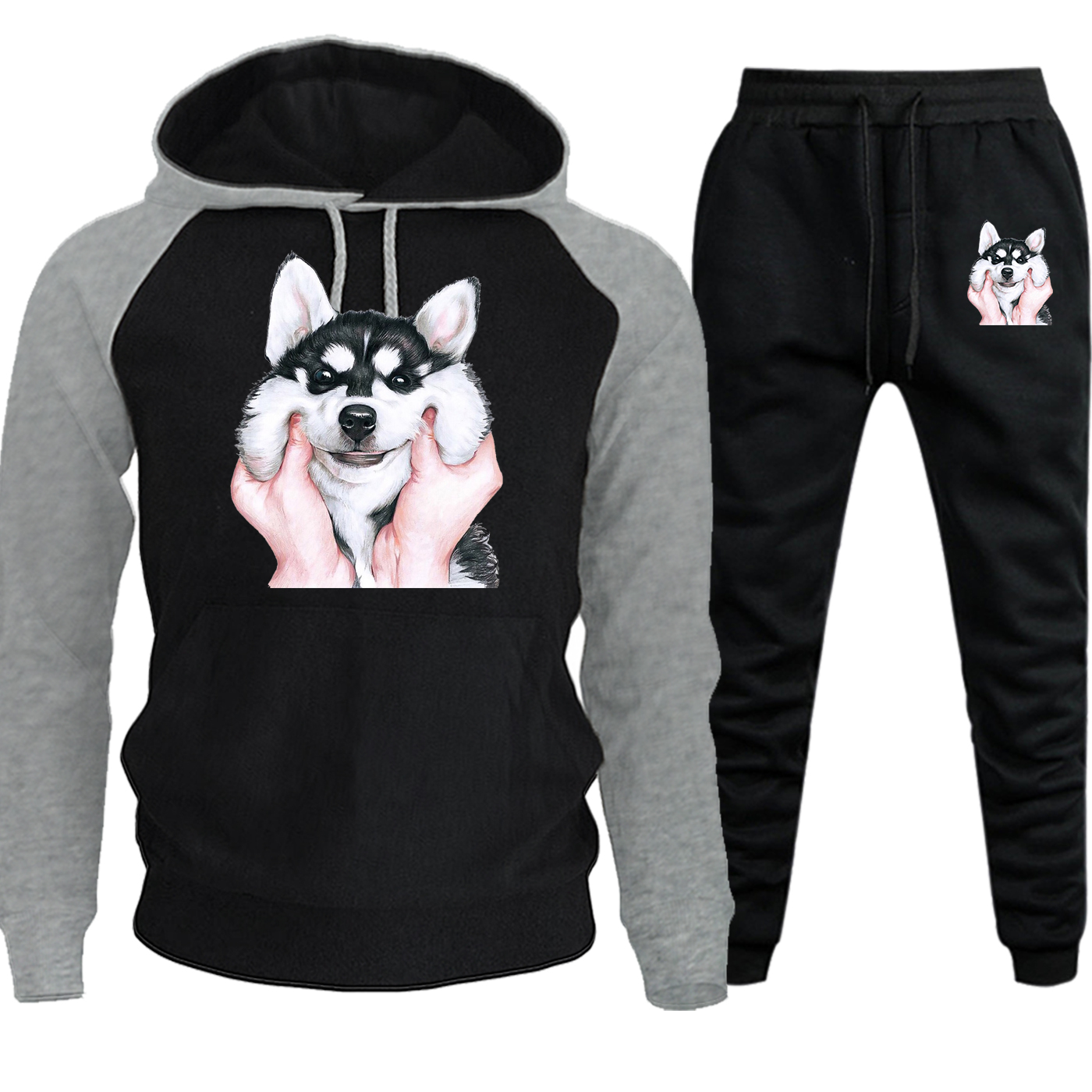 Autumn Winter 2019 New Husky Cartoon Funny Streetwear Raglan Men Hoodies Harajuku Casual Hoodies Suit Pullover+Pants 2 Piece Set