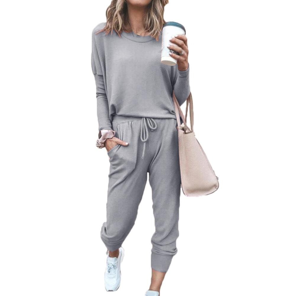 2Pcs Casual Women Solid Color O Neck Long Sleeve Shirt Drawstring Pants Tracksuit Skin-friendly And Comfortable Perfect Gifts
