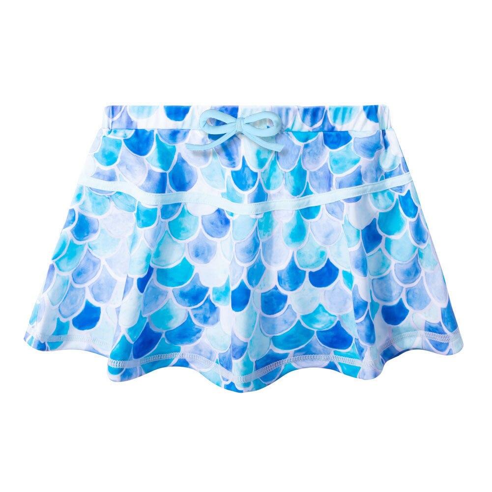 crianças duas peças maiô com saia azul
