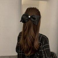 Fermaglio per capelli semplice in stile coreano con fiocco in raso nero dolce elegante imitazione perla Barrette per capelli impugnatura per capelli per donne ragazze