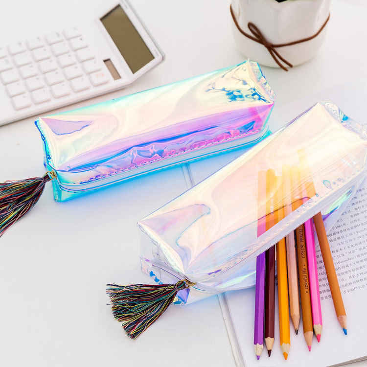 1 Pcs Kawaii Pencil Case Laser Transparent Sequins School Pencil Box Pencilcase Pencil Bag School Supplies Stationery