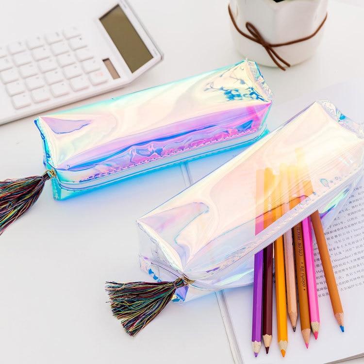 1 Pcs Kawaii Pencil Case Laser Transparent Sequins School Pencil Box Pencilcase Pencil Bag School Supplies Stationery