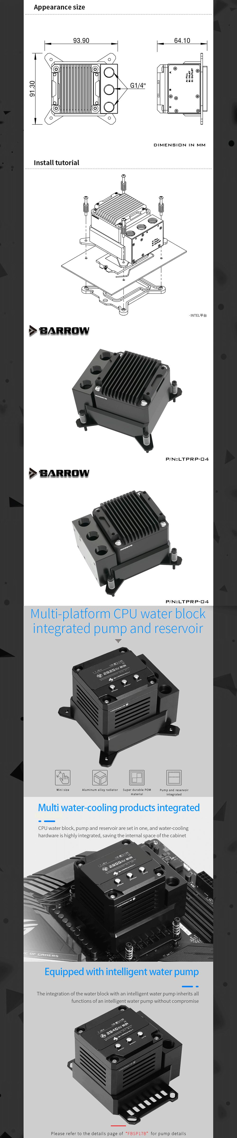 Barrowch POM CPU Block Pump Reservoir 17W PWM Intelligent Pump Three In One OLED Digital Display, LTPRP-04/FBLTPRP-04