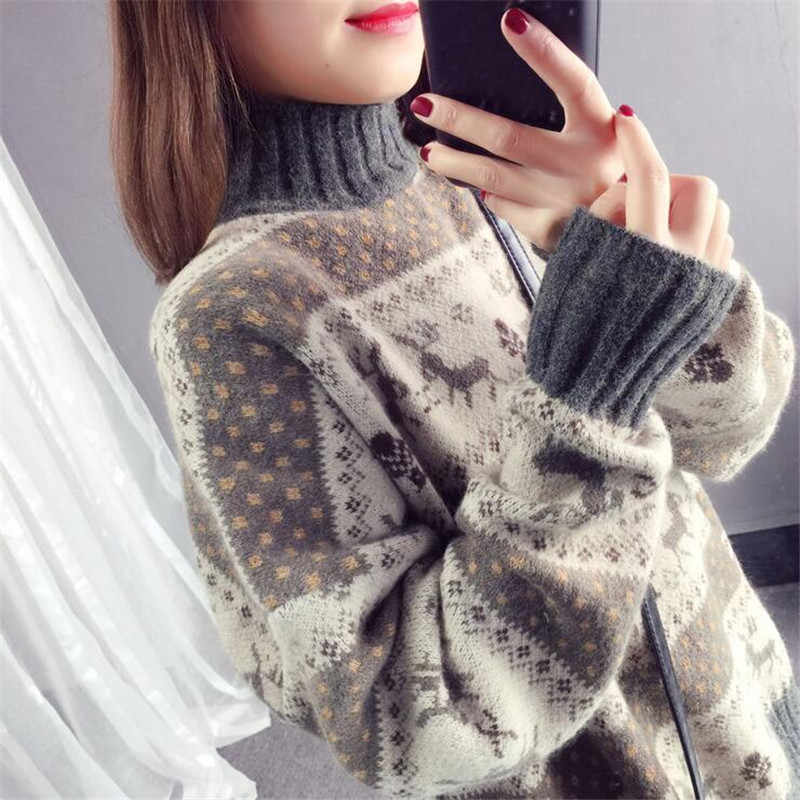 Christmas deer loose sweater female 2019 autumn and winter striped long-sleeved thick warm jacquard sweater