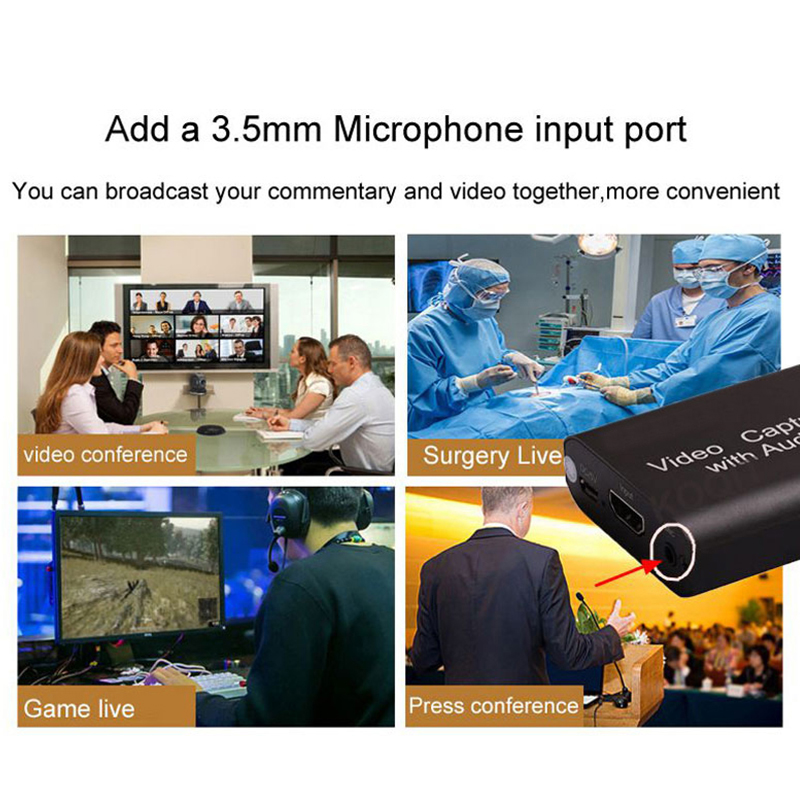 HDMI-compatible video capture card USB3.0 audio device captures switch/PS4 game 1080p 30fps 4K video Loop Out for Live Streaming 5