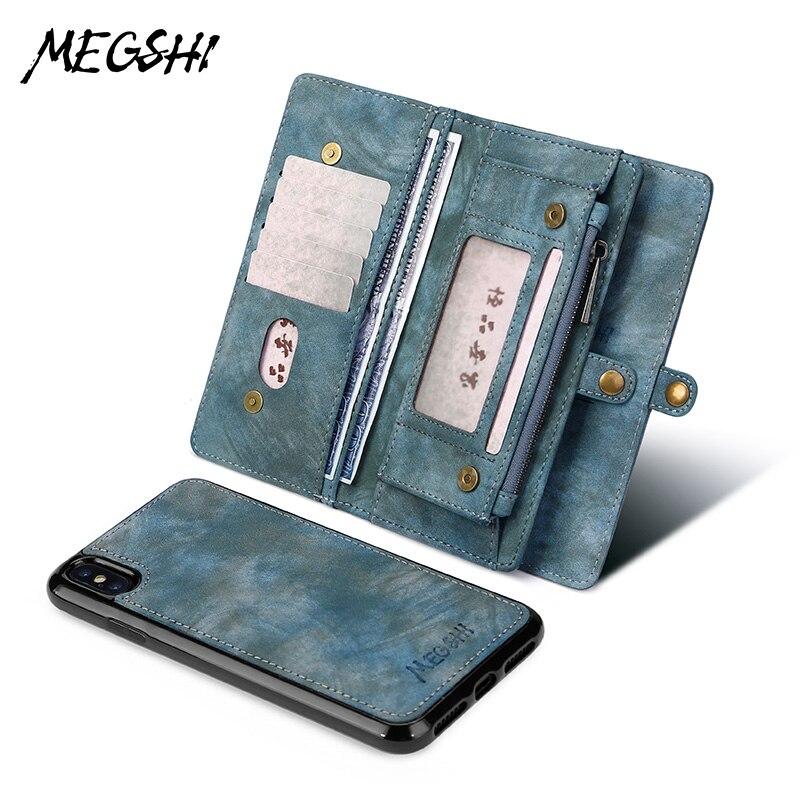 MEGSHI Brieftasche herbst für Samsung Galaxy S10 Zipper Magnetische Telefon Herbst Folio Flip Abdeckung für Samsung Note 10 Plus S8