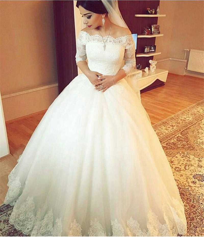 Robe De Mariee Princesse Sleeves Scoop Neck Applique Lace Bridal Gown 2018 Ball Vestido De Noiva Mother Of The Bride Dresses
