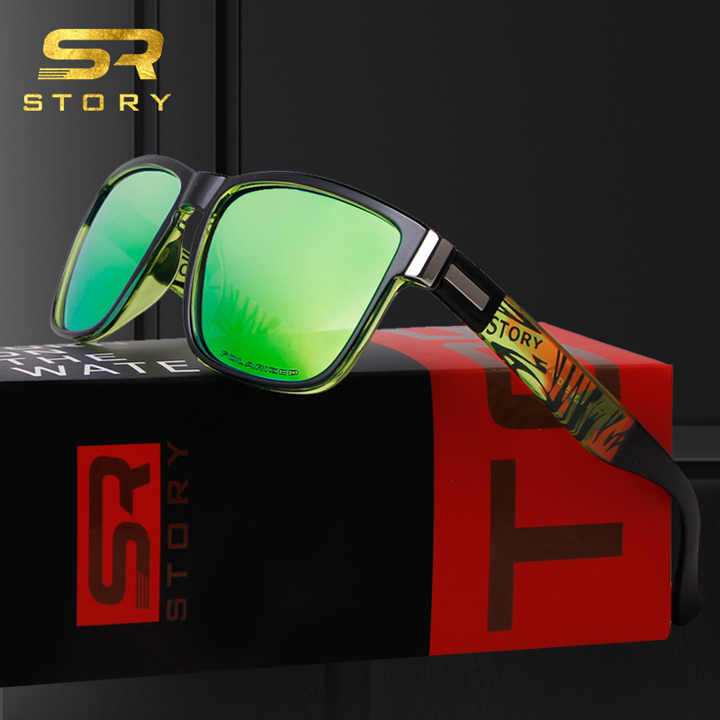 STORY TR90 Sunglasses Men Polarized Sport 2020 High Quality Brand Design Square Mirror Lens Black Sun Glasses Driving Male <font><b>D518</b></font> image