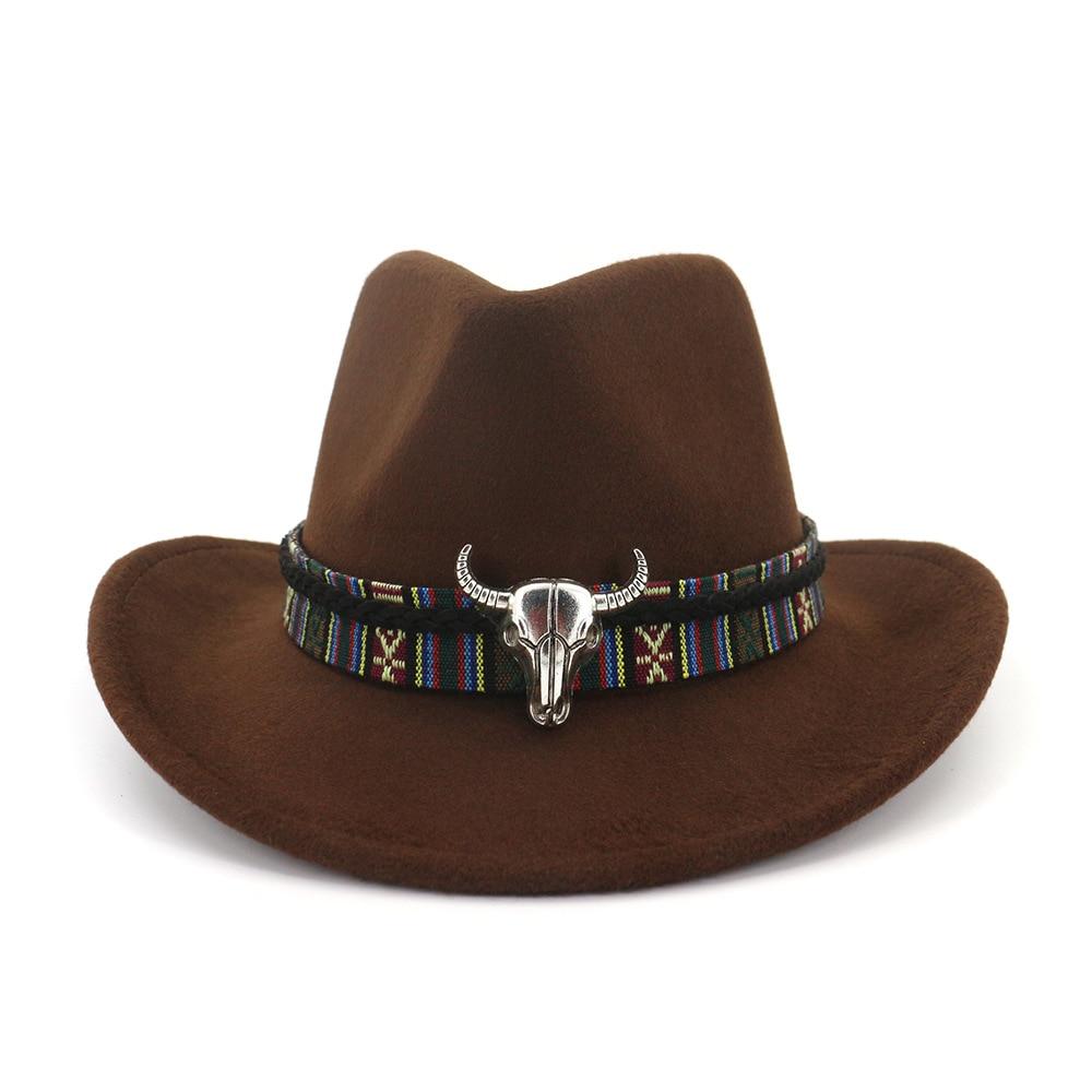 Mens Cowboy Hat with Ox Head Felt American Western Texas Style Vintage Unisex Women Red Stylish Sun hat