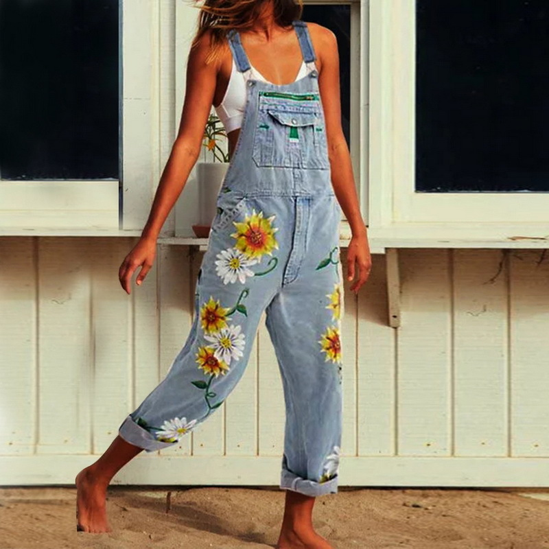New Women Jumpsuits Bib Jeans Ripped Denim Sexy Stretch Romper Floral Print Denim Pencil Overalls Stretch Trousers Long Pants