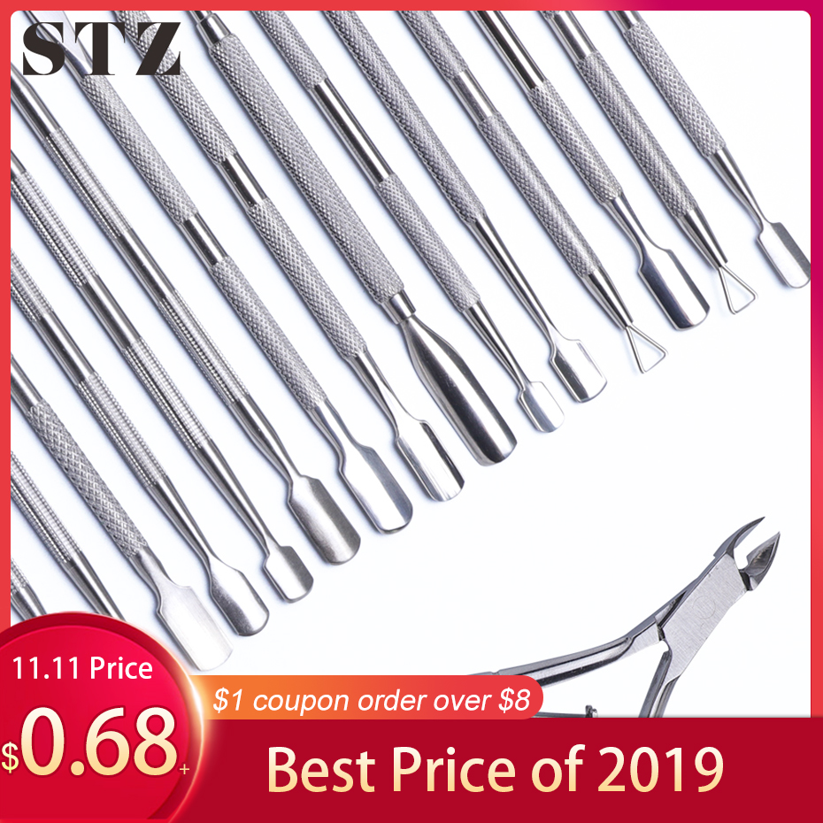 STZ 1Pcs Double-end Nail Art Cuticle Pusher For Manicure Stainless Steel Pedicure Tool UV Gel Remover Dead Skin Care Trimmer A17