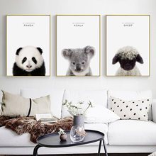 Nordic Cartoon Panda Sloth Lamb Bedroom Decoration Background Wall Frameless Painting Hanging Wall Art Canvas Animal Print(China)