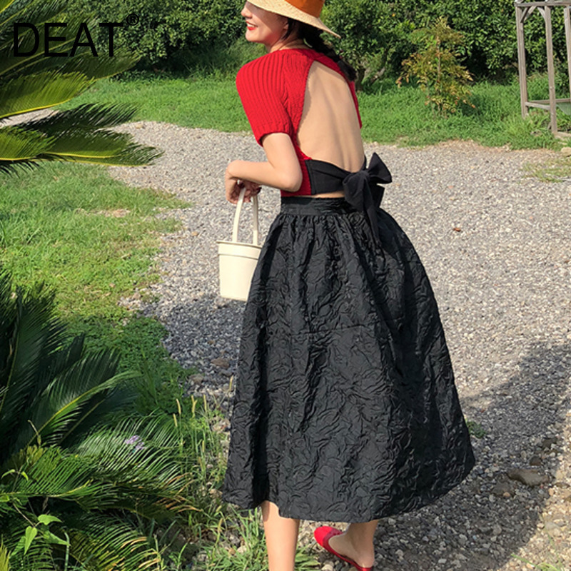 DEAT 2020 Spring And Summer New Pattern Folds Over The Knee High Waist Skirt Fashion Trend All-match Women's Clothing QF45801L